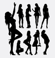 Sexy girl pose silhouettes vector image