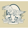 Skull and eagle tattoo art design vector image