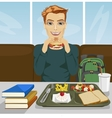 young student having lunch in fast food restaurant vector image