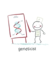 geneticist tells a presentation about the genes vector image