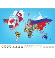 World map with flag vector image vector image