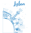Outline Lisbon city skyline with blue buildings vector image