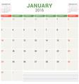 Calendar Planner 2016 Flat Design Template January vector image