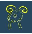 Scribble style yellow ram vector image