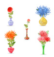 collection modern vases with chrysanthemums for vector image vector image