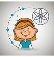 girl cartoon atom icon vector image
