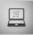 online shopping concept shopping cart on laptop vector image