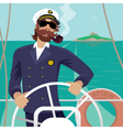 Sea captain on the deck with ships steering wheel vector image