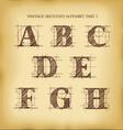 Vintage sketched alphabet set 1 vector image