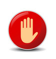 no entry hand sign on white background vector image vector image