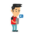 sad young man holding smartphone vector image