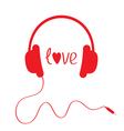 Red headphones with cord Isolated Love card vector image