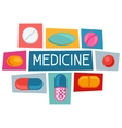 Medical background design with pills and capsules vector image vector image