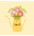 Springtime Colorful Flower Watering Can Background vector image vector image