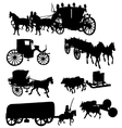 Collection of silhouettes of vintage carriages vector image