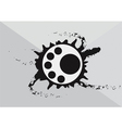 Abstract art circular logo with black ink splash vector image