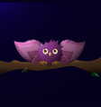 cartoon owl with wide wings sits on a branch at vector image
