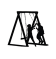 children play on a swing vector image