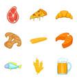 fast food restaurant icons set cartoon style vector image