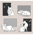 Funny cats sketches set two vector image