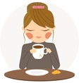 Girl drinks tea vector image