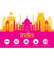 india landmarks skyline with accommodation icons vector image