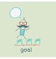 man running with obstacles to the goal vector image