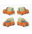 Orange pickup with tent vector image