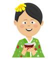 woman wearing japanese kimono holding tea cup vector image