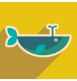 flat icon with long shadow whale fountain vector image
