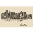 Boston skyline vintage Sketch vector image