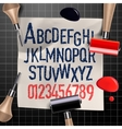 Engraving letters and numbers vector image vector image
