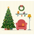 Christmas room interior vector image