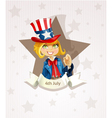 4th July poster with pretty blond girl vector image