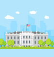 cartoon white house building vector image