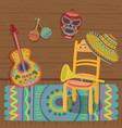 cultural symbols of mexico traditional interior vector image
