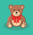 Cute brown teddy bear toy with red bow vector image