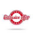 exclusive offer label red color isolated on vector image