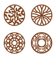 Flower Design Laser Cut Wood Coaster vector image