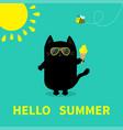 hello summer black cat holding ice cream yellow vector image