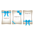 Set of card note with gift bows vector image
