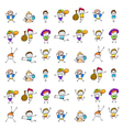 set of cartoon happy kids vector image