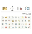 Travel and tourism color icons vector image