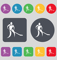 Winter sport Hockey icon sign A set of 12 colored vector image