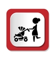 Woman with a stroller icon vector image