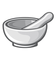white porcelain mortar and pestle vector image
