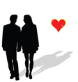 Couple in love silhouette vector image