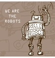 hand draw robot on retro background Eps10 vector image