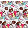 Seamless pattern with cats and cupcakes vector image