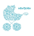 Blue baby carriage vector image
